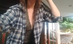 Wilrieke wearing her boyfriends blue checkered shirt